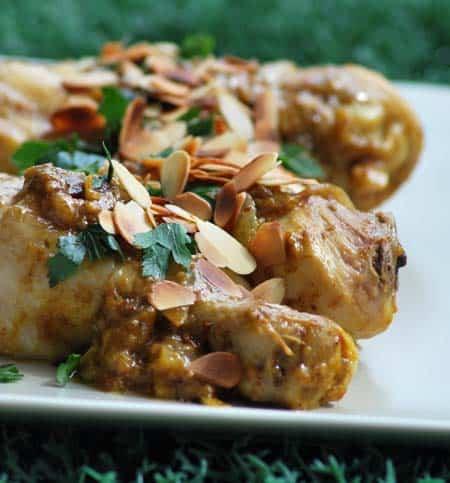 hähnchen mit mandeln und safran