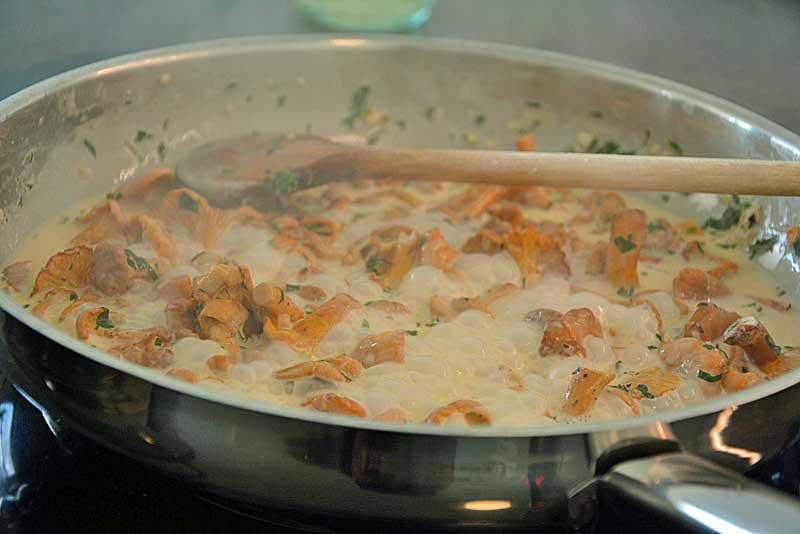 Pfifferlinge in einer Pfanne aufkochen lassen