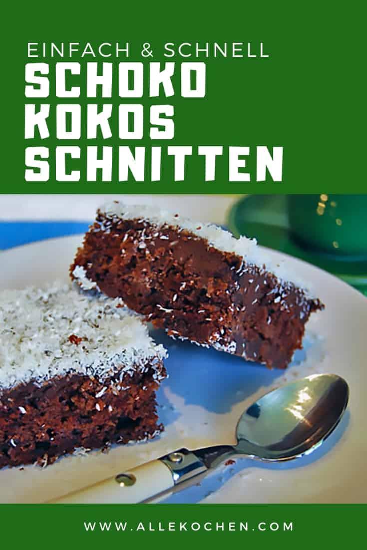 Rezept für einfache und schnelle Schoko Kokos Schnitten. Der perfekte Blechkuchen gelingt jedem.