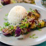 Rezept für Teriyaki Rindfleisch Spieße mit Reis für die ganze Familie. Geht schnell und schmeckt gut