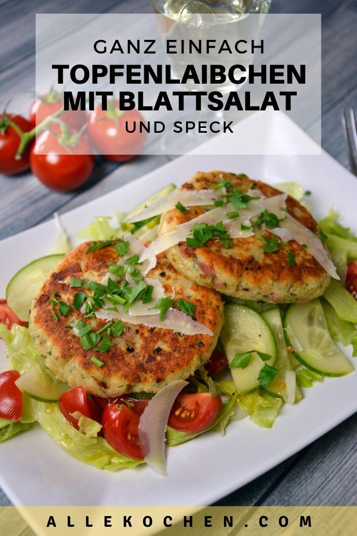 Ein einfaches Rezept für Topfenlaibchen mit Blattsalat und Speck. Ohne Speck ist das Laibchen vegetarisch. Kann individuell angepasst werden.