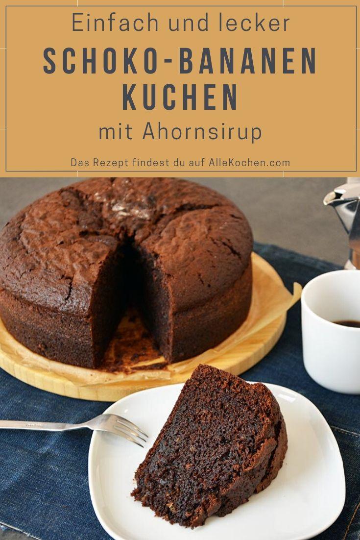 Rezept für einen einfach und saftigen Schoko-Bananen-Kuchen mit Ahornsirup. Wer mag kann noch optional ein Tolles Topping verwenden.