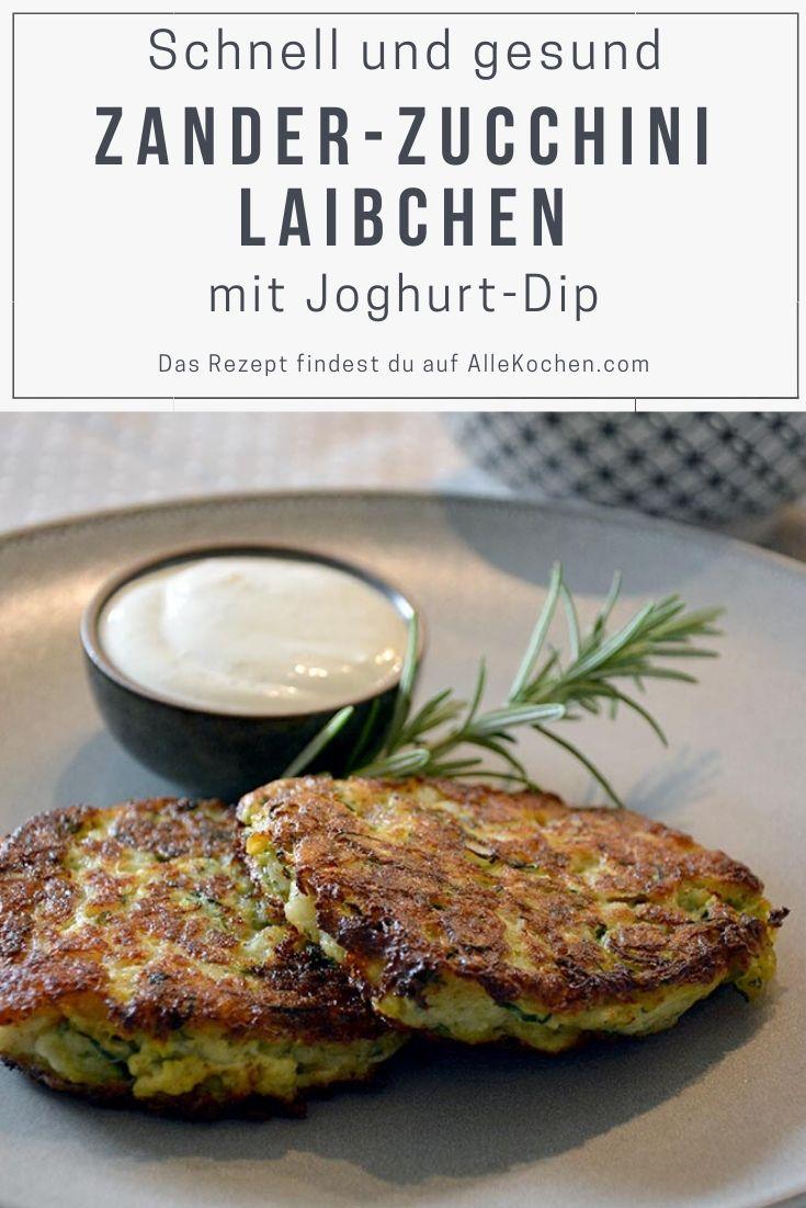 Einfache und schnelle Zander Zucchini Laibchen mit Joghurt-Dip. Eine Schatz aus der israelischen Küche mit dezent orientalischer Note.
